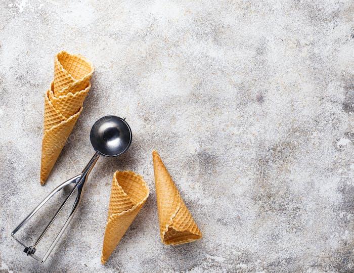 Waffle cones for ice cream