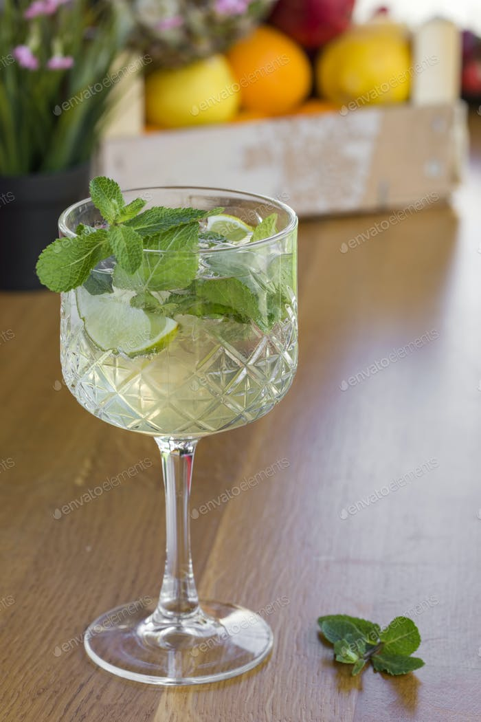 Cocktail with vodka, mint and lemon
