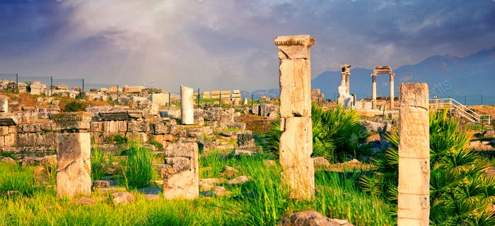 Panorama of ancient city of Hierapolis with statue of Pluto in Pamukkale