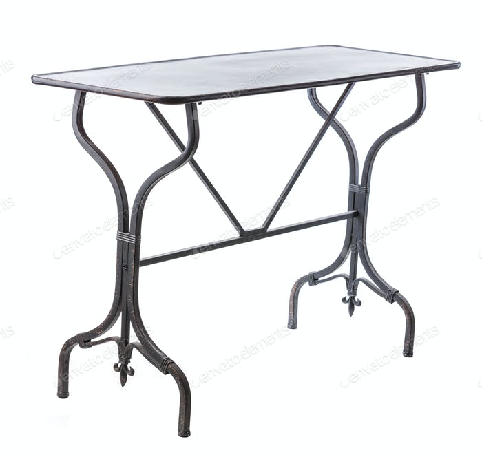 Elegant table with metal legs over white