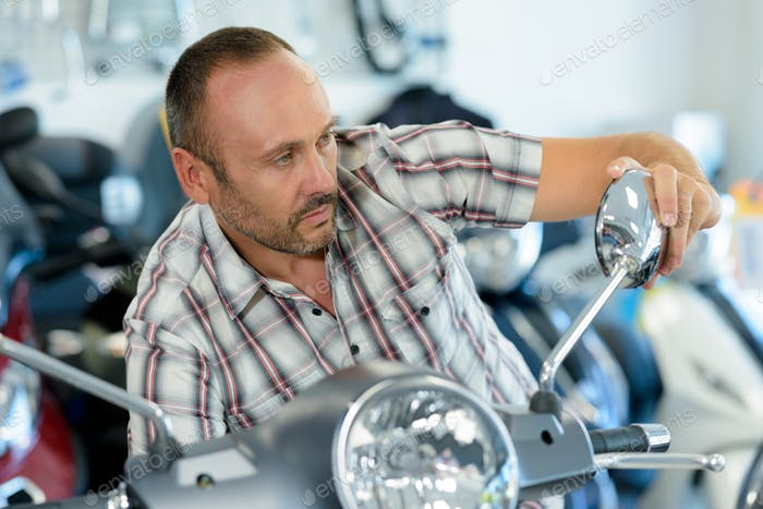 buying in a motorbike store