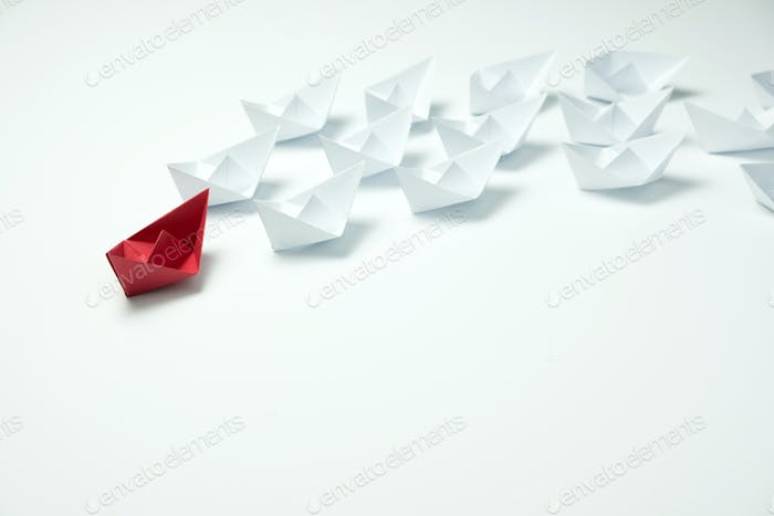 Leadership concept using origami ship