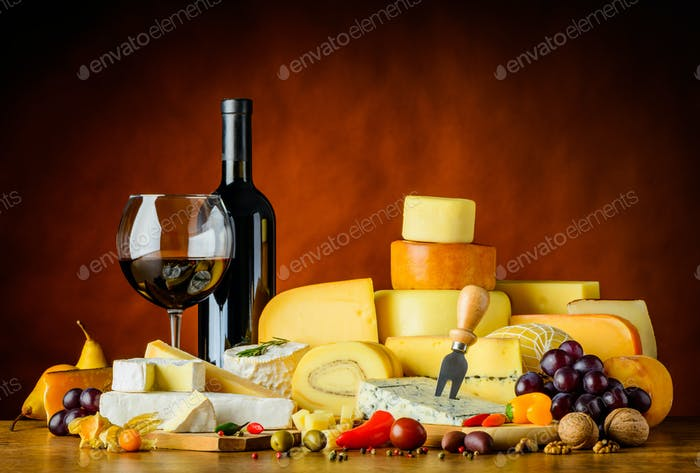 Cheese and Red Wine in Still Life
