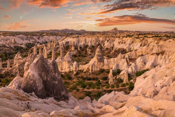 Rocky landscape in Cappadocia at sunset, Turkey