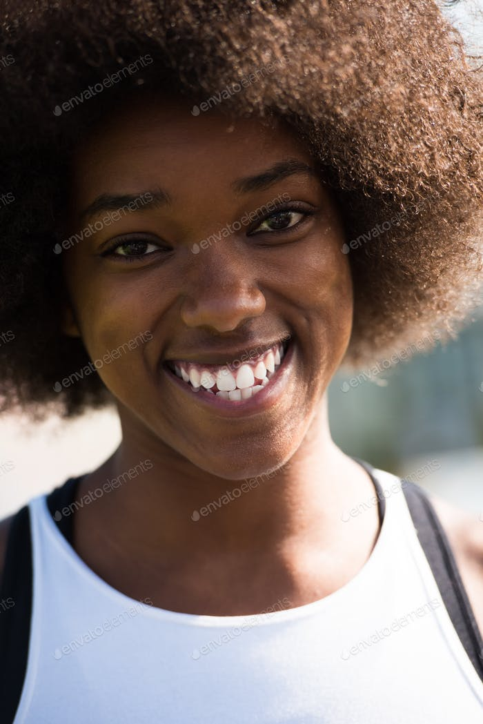 Close up portrait of a beautiful young african american woman sm