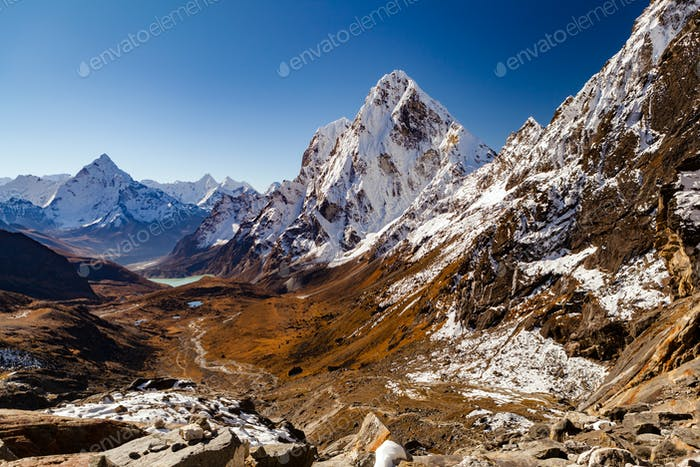 Himalaya Mountain Peaks from Cho La pass, Inspirational Autumn L