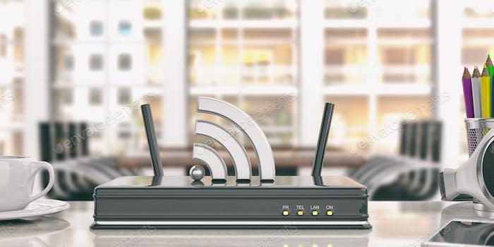 Wifi Router in einem Büro Hintergrund. 3D Illustration
