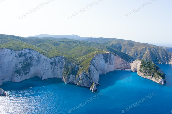 the island of Zakynthos Greece from the air