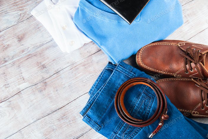 Man's clothes lifestyle shoes flat lay