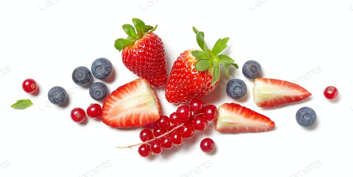 various berries on white background