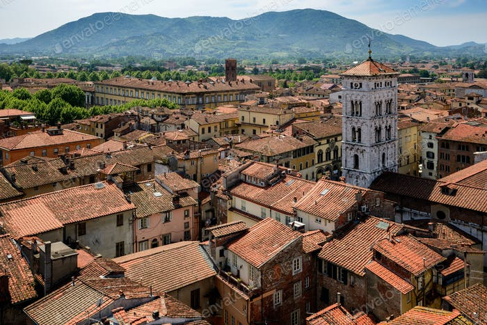 View of Lucca and San Michele church, Tuscany, Italy.