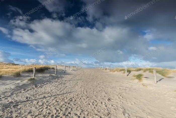 path on sand and beaufirul blue sky