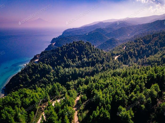Vista Aéreo sobre el verde Bosque de montaña y el Mar en Grecia