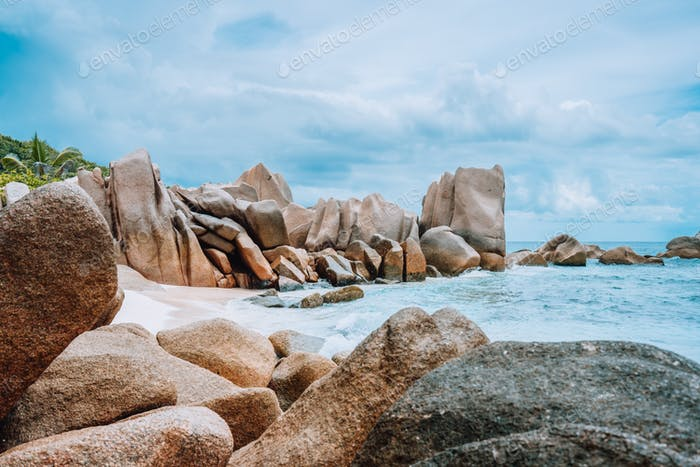 La Digue, Seychelles. Granite boulder rocks on day hike around island