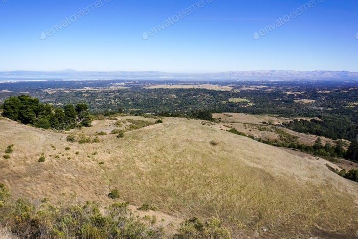 View from Windy Hill towards Silicon Valley, San Francisco Bay Area, California