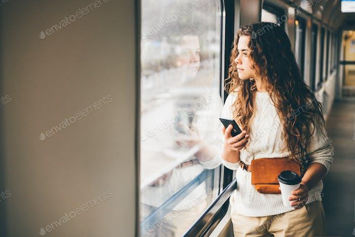 Freelancer girl in the train