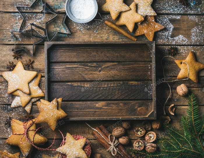 christmas new year background with rustic wooden tray in center