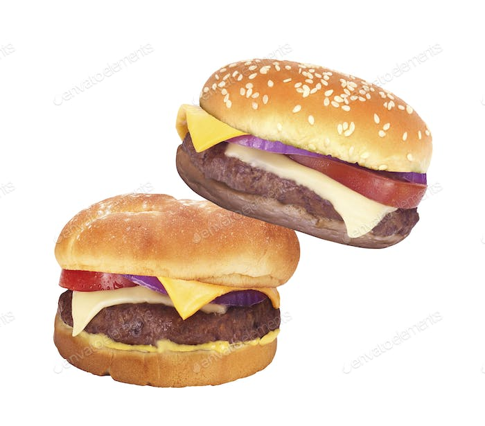 Two Big hamburgers on white background