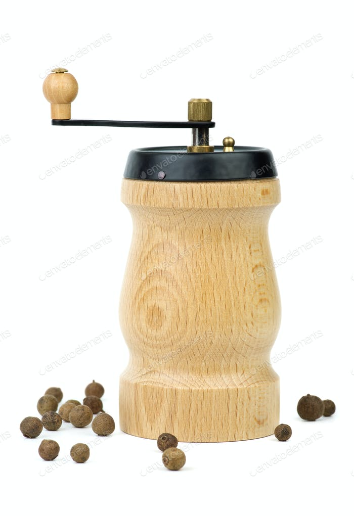 Wooden spice handmill and allspice