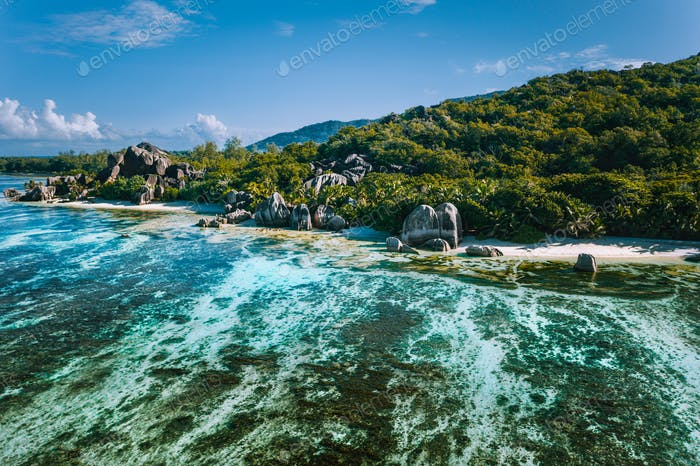Aerial view of Seychelles tropical beach Anse Source D Argent at La Digue island