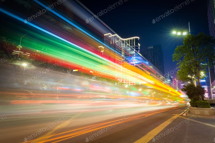 colorful light trails