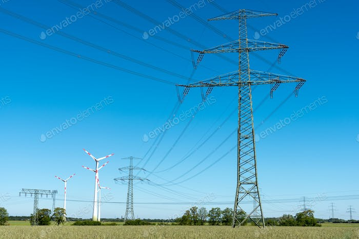 Transmission lines with some wind wheels
