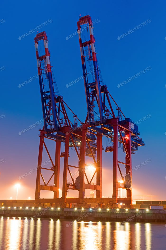Two container cranes
