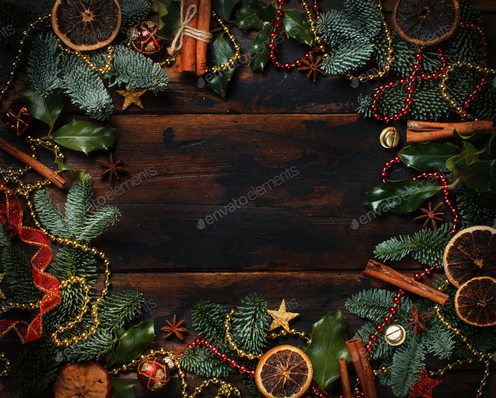 Christmas composition with decorations and spices