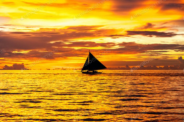Beautiful sunset at Boracay beach, Philippines