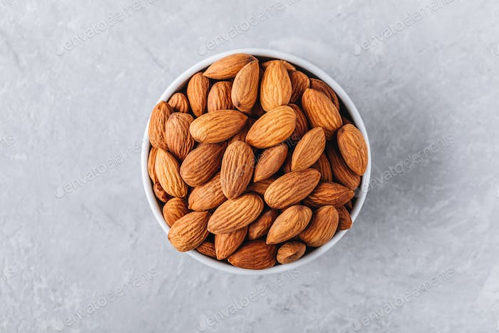 raw whole almond in bowl