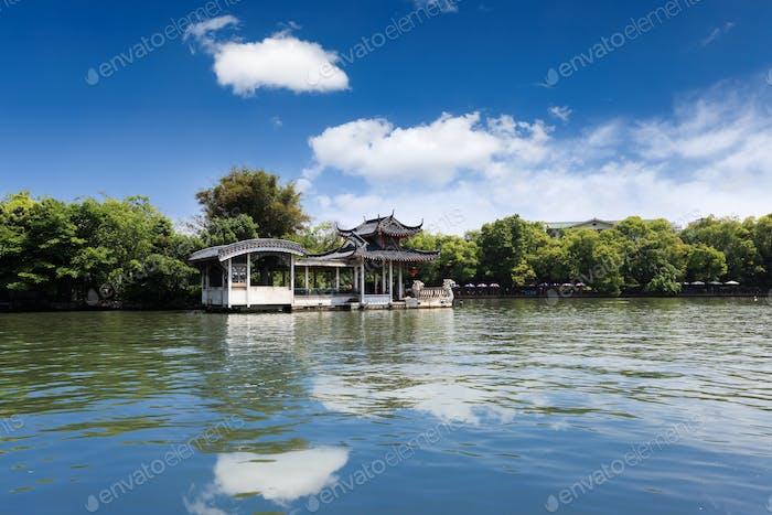 stone boat in lake