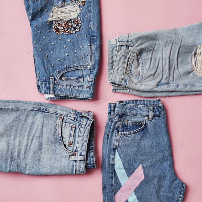 Flache Lay Shot Of Vintage Denim Jeans