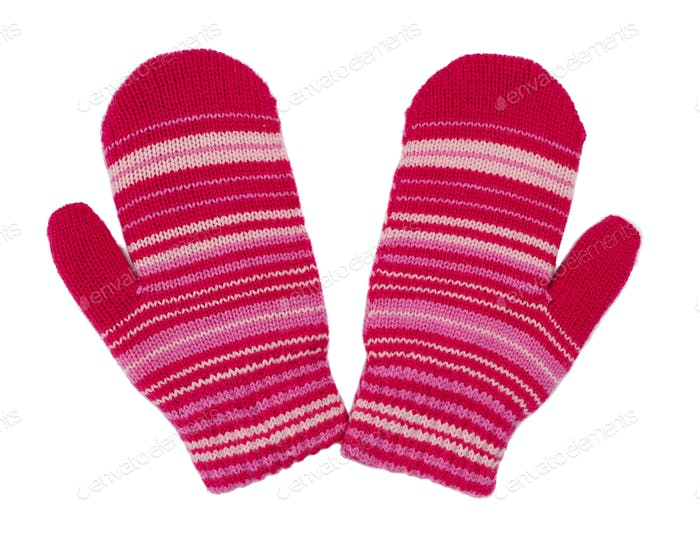 pair of red striped mittens