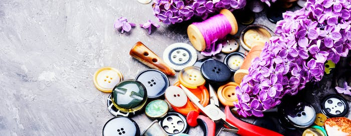 Bright buttons and lilac branch