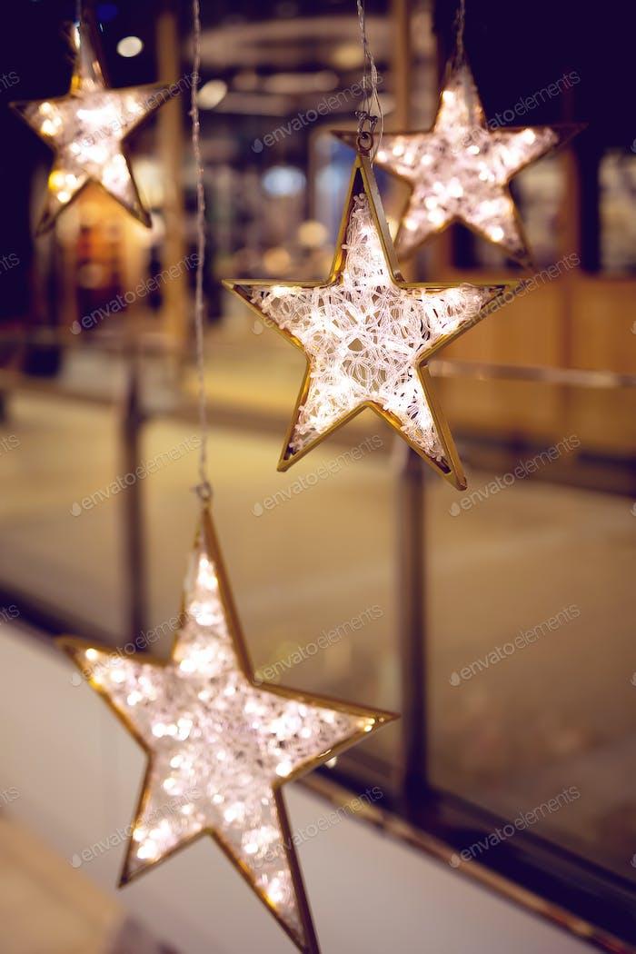Decorative stars with lights.