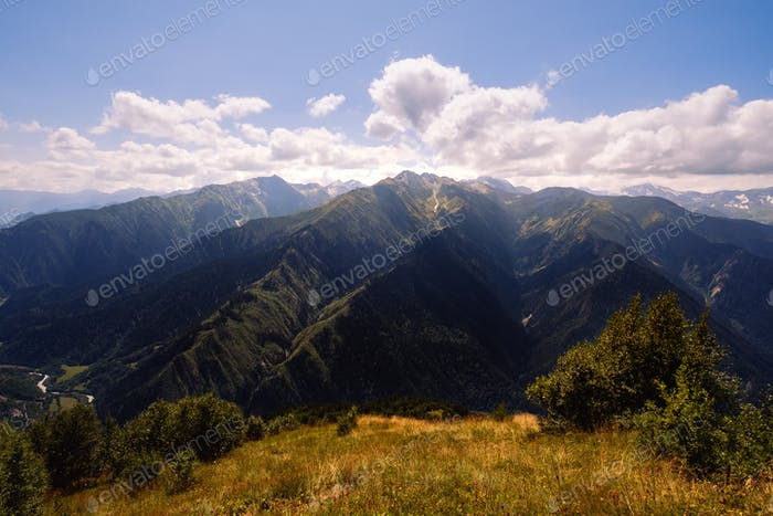 Landscape view of beautiful Caucasus mountains in Svaneti national park, Georgia