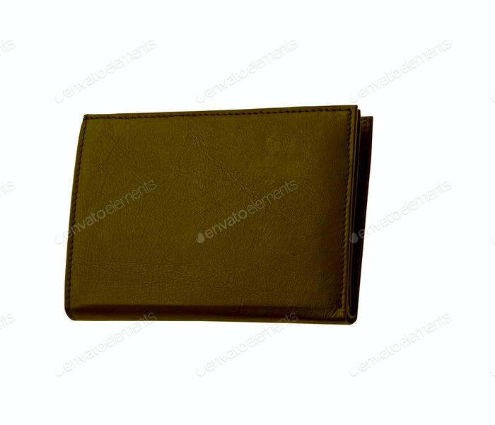 Brown leather case on white background