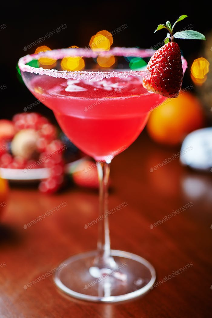 strawberry daiquiri on a table in restaurant. soft focus.