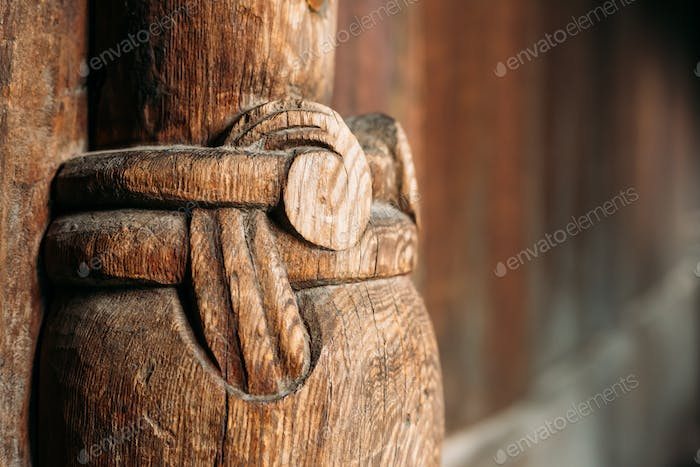 Borgund, Norway. Carved Details Of Famous Wooden Norwegian Landm