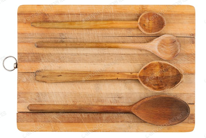 kitchen wooden spoons on wooden board