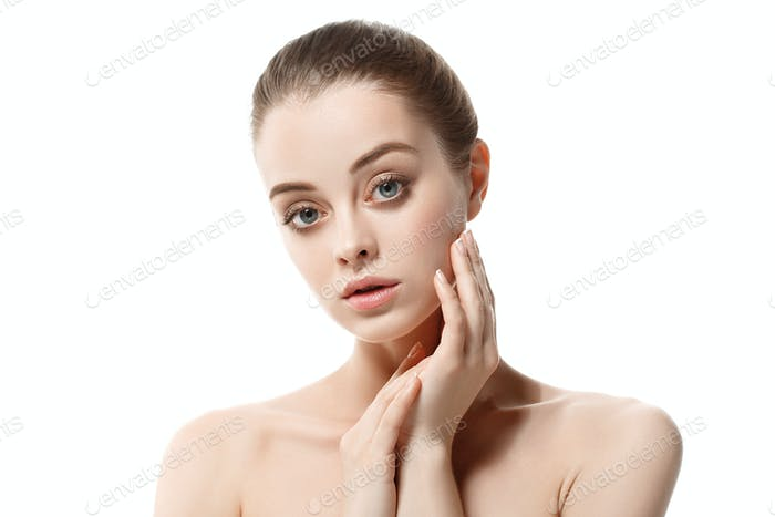 Beautiful woman female skin care healthy hair and skin close up face beauty portrait