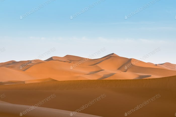 desert dusk landscape, setting sun shone over the dunes, clipping path included
