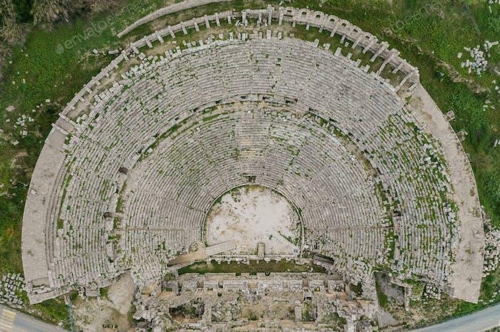 Top view on tourists destination Perge Tiyatrosu, Antalya, Turkey