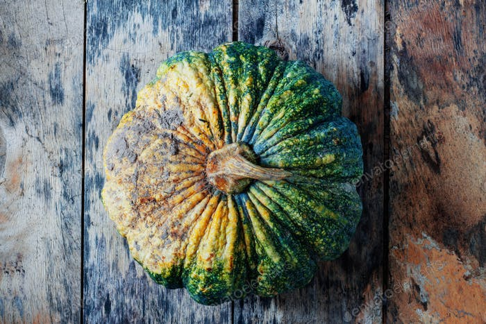 Pumpkin on the old wooden