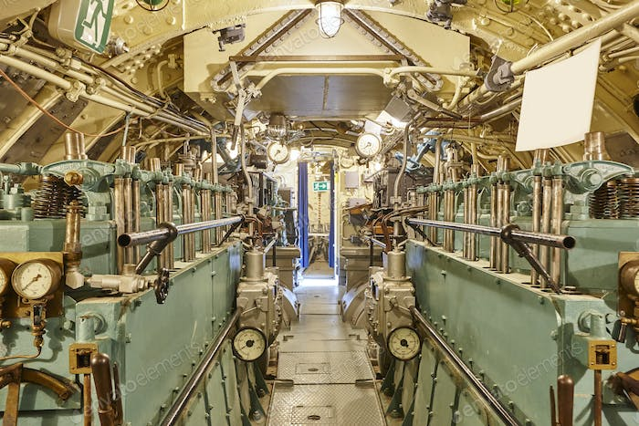 Second war world submarine interior. Engine room. Military vessel. Horizontal