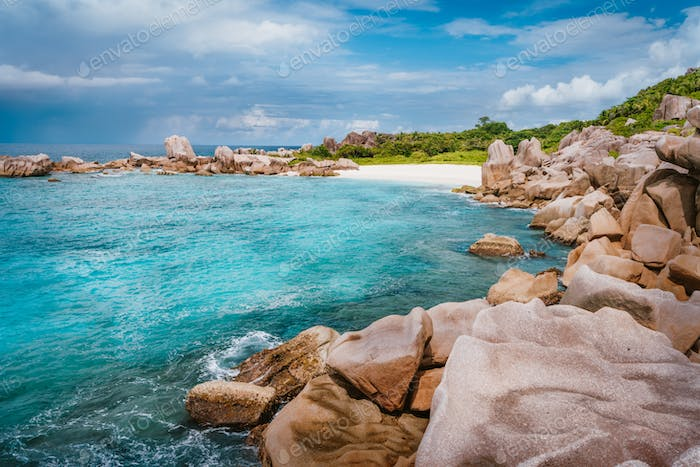 Tropical secluded beach at Seychelles - nature background