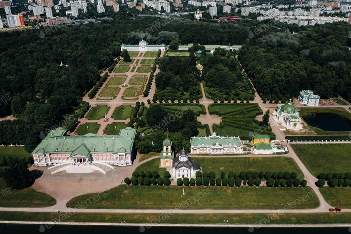 View from the height of the Kuskovo Estate in Moscow, Russia. Kuskovo manor is a unique monument of
