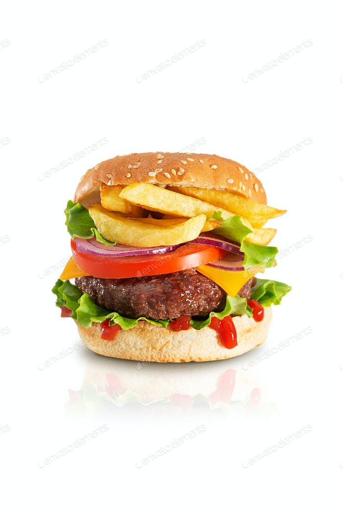 Fresh juicy beef hamburger with dripping ketchup and french fries on white background with shadow
