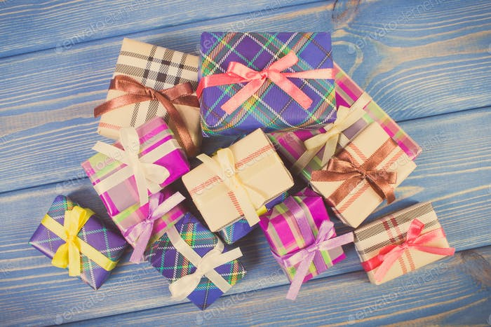 Vintage photo, Wrapped colorful gifts with ribbons for Christmas or other celebration