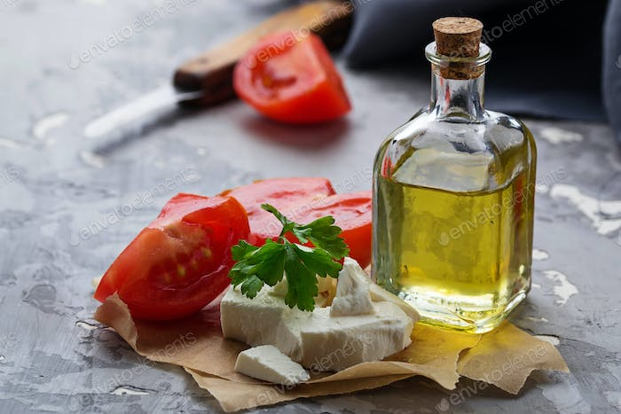 Feta cheese with tomato and oil.